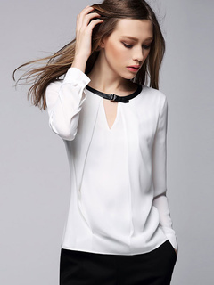 White Chiffon Shirt Long Sleeve Buckle Cut-out Women's Blouse