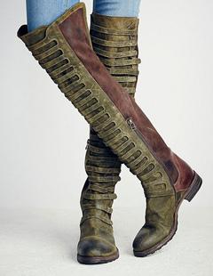 Stivali alti donna ginocchio lunghezza piana verde smeraldo rotonda Toe  bicolore Zipper Leather Boots 90183465264