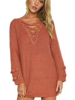 Women's Brown Sweater Long Sleeve V-neck Criss-cross Lace-up Grommet Oversized Pullover