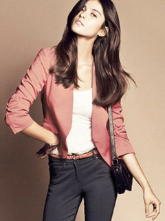 Blazer Casual Jacket Pink Women Long Sleeve Spring Coat