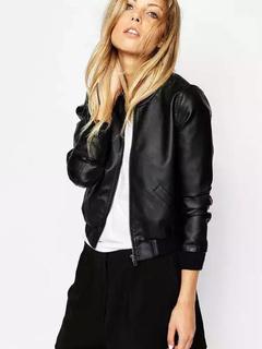 PU Leather Jacket Women's Oversized Black Moto Jacket