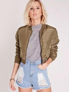 Women's Bomber Jacket Zip Up Oversized Short Jacket