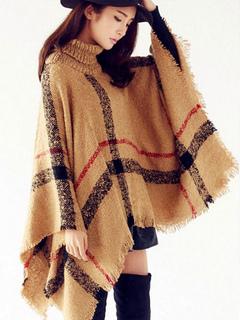 Blanket Poncho Plaid Turtleneck Long Sleeve Outwear With Fringe