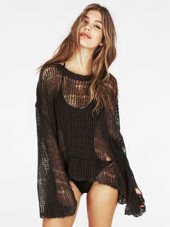 Black Women's Sweater Sexy Cut-out Long Sleeve Pullover