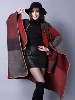 Red Poncho Sweater Long Sleeve Color Block Oversized Poncho Coat For Women