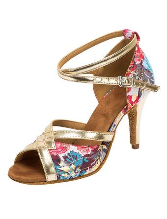 Charmantes chaussures à talons aigus en tissu bleu détail impression florale