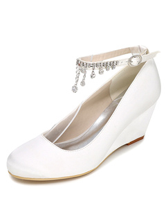 White Wedding Shoes Wedge Heel Rhinestones Ankle Strap Satin Bridal Shoes