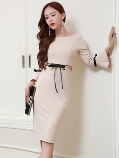 Sexy Bodycon Dress Bow Waisted Cropped Cut-Outs Medium Length Bell Sleeve Sheath Dress For Women