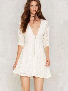 Sexy White Lace Skater Dress Semi-Sheer Deep V Neck Half Sleeve Slim Dress