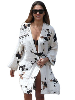 White Cover Ups Printed Long Sleeve Women's Open Front Beach Swimwear