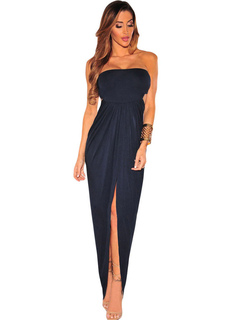 Club Maxi Dress Strapless Pleated Cut Out Slit Women's Sexy Long Dress