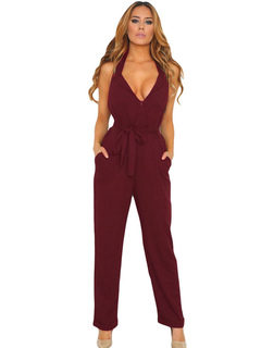 Sexy Wrap Jumpsuit V-Neck Sleeveless Long Jumpsuit In Straight Leg