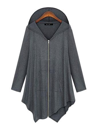 Full Zip Hoodie Women Gray Hooded Asymmetrical Lightweight Hoodie Jacket