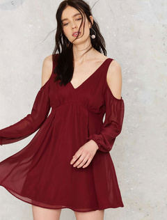 Burgundy Chiffon Dress Long Sleeve Open Shoulder High Waist Skater Dress