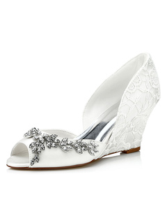 Lace Wedding Shoes Ivory Wedge Peep Rhinestone Slip-on Bridal Shoes