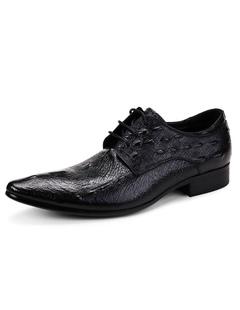 7da6699b2 Black Dress Shoes Men s Cowhide Pointed Crocodile Pattern Lace-up Leather  Shoes