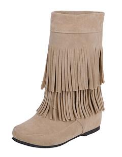 69c4c66be Bohemio botas tacón oculto franja de las mujeres alrededor del dedo del pie vaquera  botas cortas