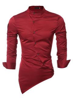 Long Sleeve Shirt Men's Red Spread Asymmetrical Slim Fit Cotton Shirt