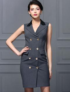 Sleeveless Formal OL Work Dress Gray Double Breasted Deep V Neck Slim Pencil Dress Knee Length