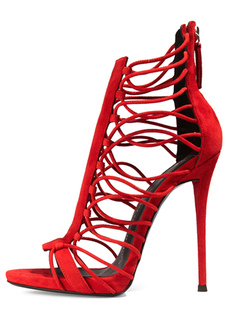 e225e5fc378c2 Bridal Gladiator Sandals High Heel Strappy Suede Red Cut Out Open Toe Sexy  Evening Shoes