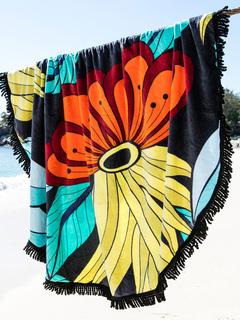 Swim Cover Ups Muliticolor Printed Round Cotton Beach Blanket