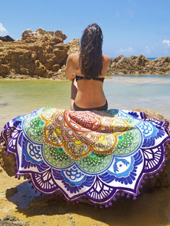 Boho Beach Blanket Multicolor Printed Irregular Swim Cover Ups With Pom Poms