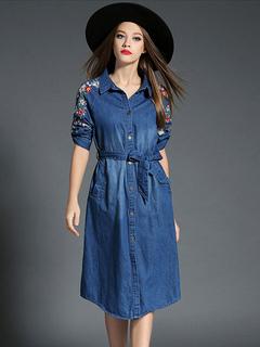 Blue Skater Dress Spread 3/4 Length Sleeve Embroidered Denim Dress With Sash