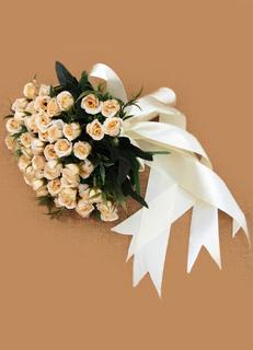 Champagne Wedding Bouquet Bridal Flowers Ribbon Hand-tied Silk Flowers
