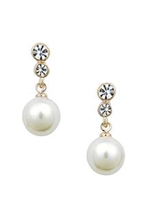 Pearl Wedding Earrings White Rhinestone Dangle Earrings Pierced Wedding Jewelry For Women