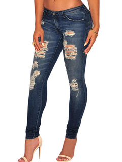 Ripped Denim Jean Women's Deep Blue Slim Fit Skinny Jean