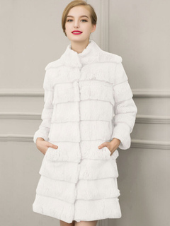 Faux Fur Coat Women White Stand Collar Long Sleeve Winter Overcoat