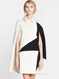 Women's Cape Coat Two Tone Printed Turndown Collar Sleeveless Oversized Winter Coat