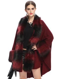 Burgundy Poncho Coat Faux Fur Batwing Long Sleeve Open Front Winter Coat For Women