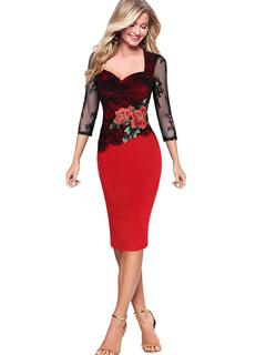 Women's Bodycon Dress Lace Sleeve Floral Print Sweetheart Neckline Sheath Dress