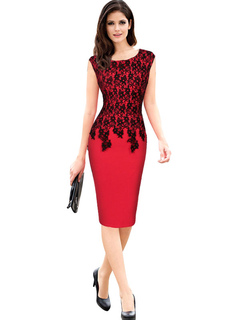 Red Bodycon Dress Lace Short Sleeve Slim Fit Shaping Sheath Dress