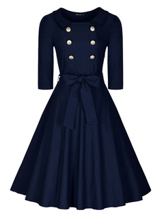 Women's Vintage Dress Deep Blue Jewel Neck Half Sleeve Bowed Lace Up Circle Dress With Buttons
