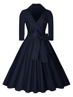 Women's Vintage Dress Deep Blue Long Sleeve V Neck Circle Dress With Bow