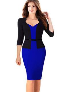Women's Bodycon Dress Black Red 3/4-Length Sleeve Fake Two-Piece Sheath Dress With Sash