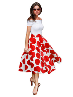 Women's Vintage Dresses Off-the-Shoulder Pleated Two Colors Polka Dot Retro Dresses