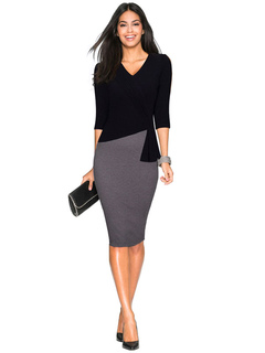 Women's Bodycon Dress Two Tone 3/4 Length Sleeve V Neck Shaping Sheath Dress