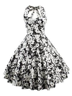 Black Vintage Dress Halter Sleeveless Lace Up Shaping Low Back Slim Fit Flared Dress