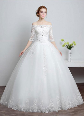 dc503d9197 Lace Wedding Dress Off The Shoulder Ivory A Line Lace Up Half Sleeve  Sequined Floor Length