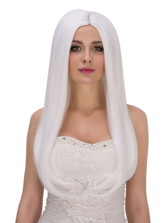 Carnival Long Wigs Women's White Straight Synthetic Hair Wigs