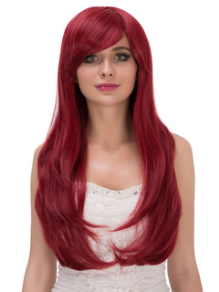 Carnival Long Wigs Burgundy Women's Side Swept Curls At Ends Synthetic Wigs