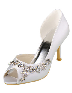 Satin Wedding Shoes High Heel Ivory Peep Slip-on Bridal Shoes With Rhinestone