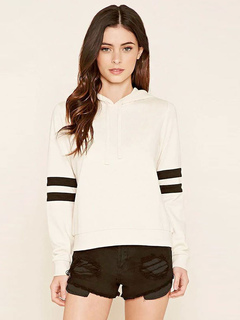 Women's Pullover Hoodie Long Sleeve Striped Drawstring Cotton Hoodie In White/Black/Red