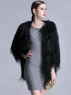 Faux Fur Coat Black Jewel 3/4 Length Sleeve Oversized Winter Coat