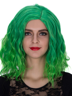 Carnival Women's Wigs Green Wavy Shoulder Length Side Parting Hair Wigs