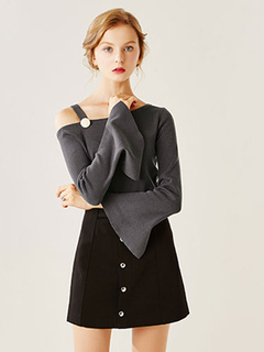 Sexy Grey Shirt Women's Slit Flared Long Sleeve Buttoned One Shoulder Cotton Knitwear