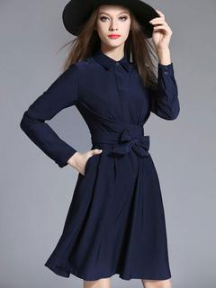 Pleated Shirt Dress Long Sleeve Women's Bows Dark Navy Flare Skater Dress